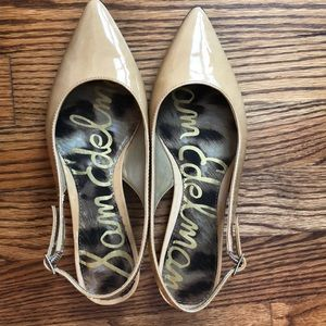 Tan/Beige Patent Leather Flats